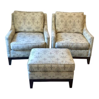 Pearson Reading Chairs With Ottoman - 3 Pieces For Sale
