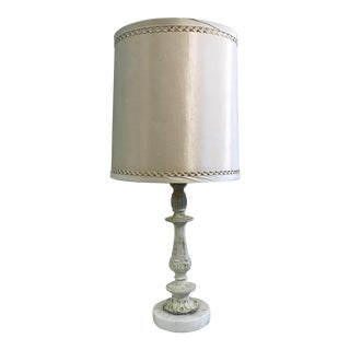 Vintage Marble Base Pained Metal Lamp For Sale