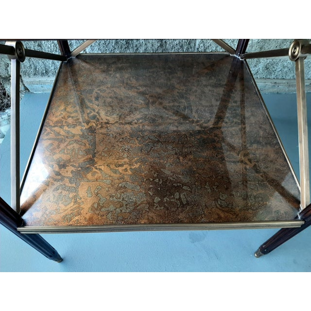 Theodore Alexander Eglomise Walnut End Lamp Table With Lower Shelf, Glass and Brass Accents For Sale - Image 12 of 13