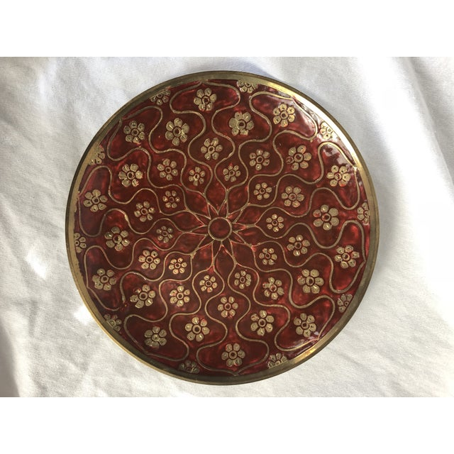 Red Late 20th Century Vintage Brass Enamel Decorative Plate For Sale - Image 8 of 8