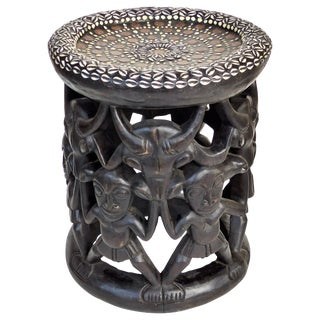 African Carved Side Table From Nigeria Embellished With Shells and Coins For Sale