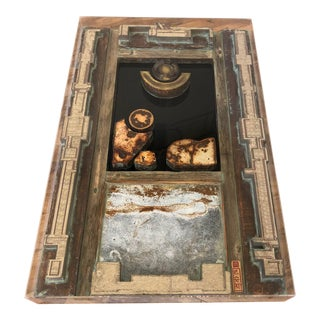Mixed Media Large Wall Art With Copper, Wood, Stone, 3 Dimensional Art in Shadowbox For Sale