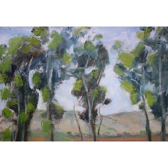 Forest Green Rush Ranch Eucalyptus Contemporary Plein Air Painting For Sale - Image 8 of 9
