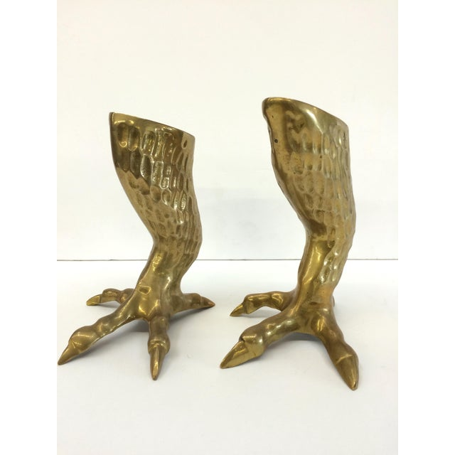 1970s Brass Eagle Claw Candlesticks- A Pair - Image 3 of 6