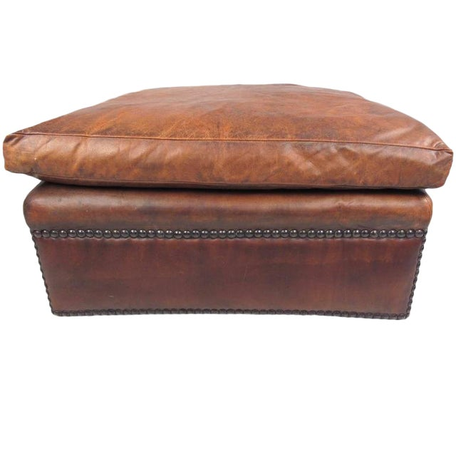 Fine Mid Century Style Leather Ottoman With Brass Studs Evergreenethics Interior Chair Design Evergreenethicsorg