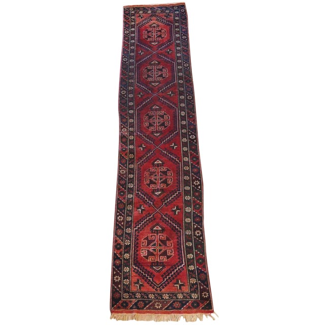 Vintage Distressed Hand-Tied Red Runner For Sale