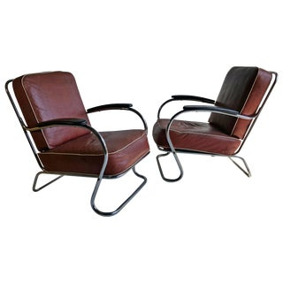 Art Deco Tubular Chrome Lounge Chairs K E M Weber, Lloyd - a Pair For Sale