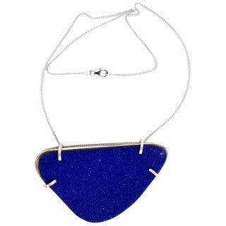 Michel McNabb for Basha Gold Blue Sugar Coat Enamel Silver Cage Necklace For Sale