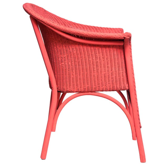 Art Deco Vintage Coral Wicker Chair For Sale - Image 3 of 7