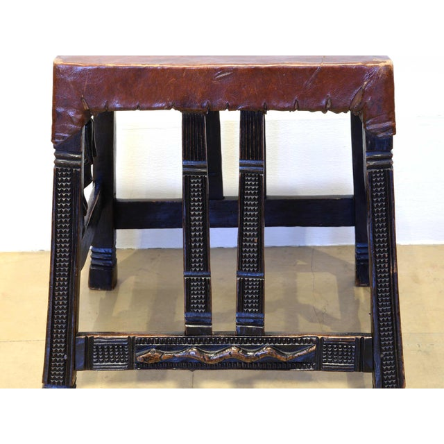 """Set of 4 """"Chokwe"""" African Stools, in Sculpted Wood and Parchment For Sale - Image 9 of 12"""