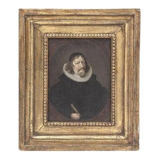 Diminutive Dutch Portrait in Gilt Wood Frame For Sale