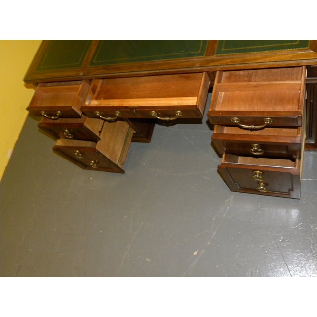 Leather Top Mahogany Desk by Sligh Furniture For Sale - Image 7 of 11