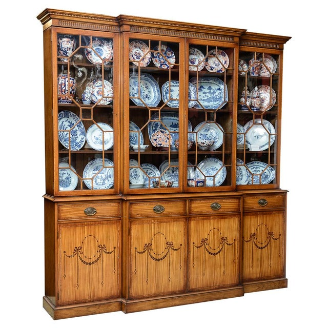 Brown Adams Style Satinwood Bookcase For Sale - Image 8 of 8