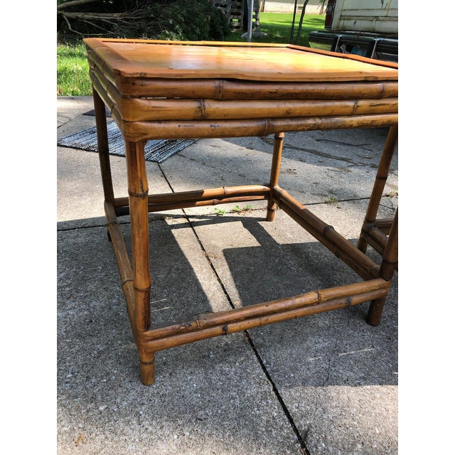 Tan Mid 20th Century Cali- Asian Style Bamboo Nesting Tables - a Pairt For Sale - Image 8 of 9