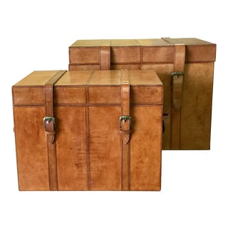 Leather Storage Trunk Boxes - Set of 2 Pcs