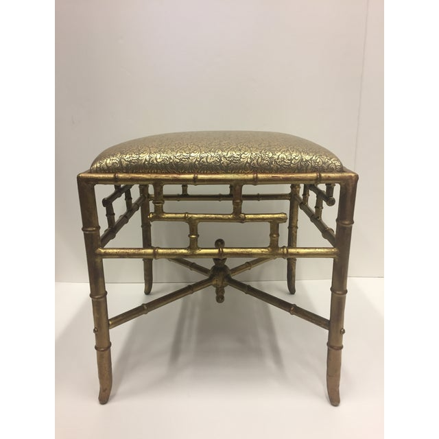 1960s Vintage Gilt Iron Faux Bamboo Ottoman Bench For Sale - Image 10 of 10