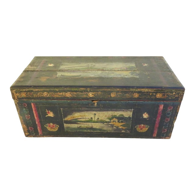 19th Century Olinala Guerrero Traditional Mexican Lacquered and Hand Painted Blanket Chest For Sale