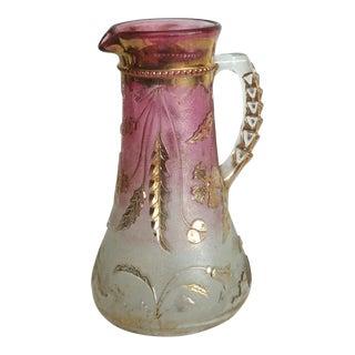 1900s Art Nouveau Czech Cranberry & Gold Flash Glass Pitcher For Sale
