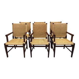 Late 20th Century Donghia Wicker Arm Chairs - Set of 6 For Sale