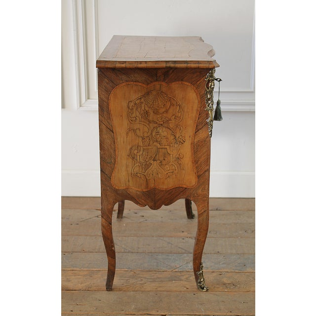 French 20th Century Louis XV Style Inlay Commode with Bronze Mounts For Sale - Image 3 of 13