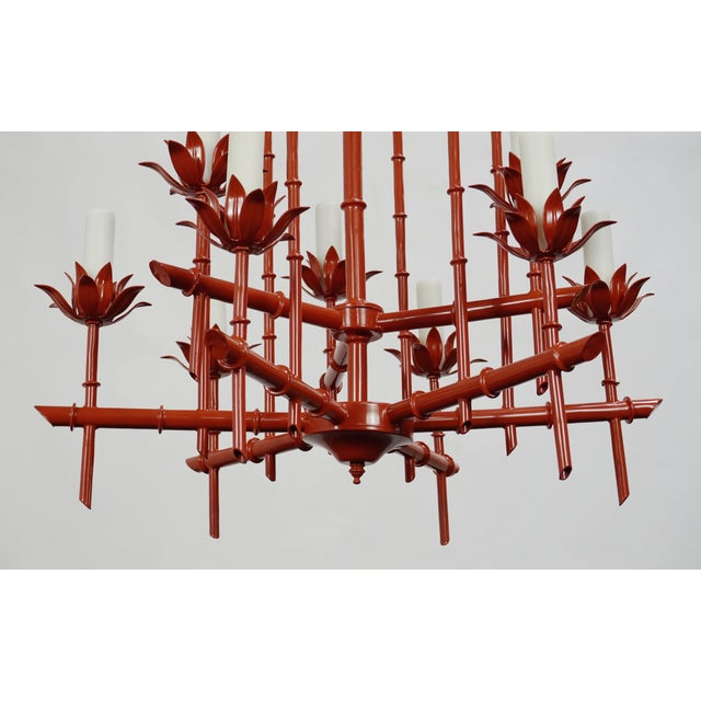 Faux Bamboo Pagoda Chandelier - Image 3 of 7