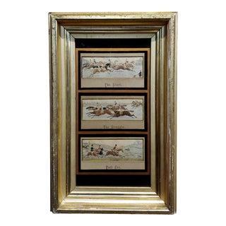 Thomas Stevens -19th Century Stevengraphs of Fox Hunting-Set of 3 For Sale