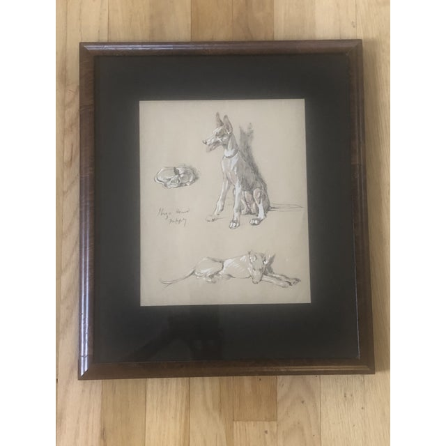 2000s Portrait of Dogs Pastel and Ink Drawing, Framed For Sale - Image 11 of 11
