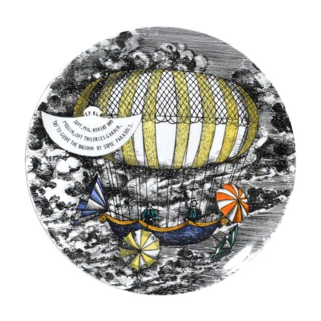 Piero Fornasetti Hot Air Balloon Plate #6 For Sale