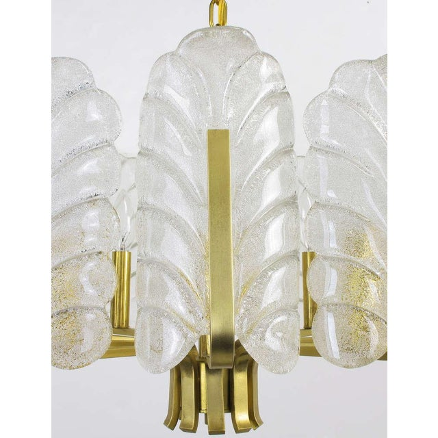 Gold Murano Glass Acanthus Leaf and Brass Ten-Arm Chandelier For Sale - Image 8 of 10
