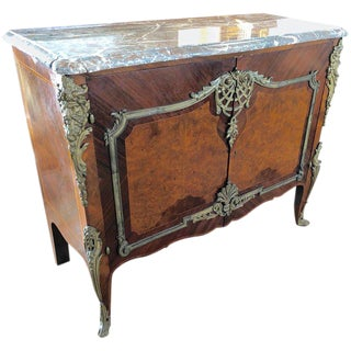 1920s Louis XV Mahogany and Marble Credenza With Gorgeous Bronze Adornments For Sale