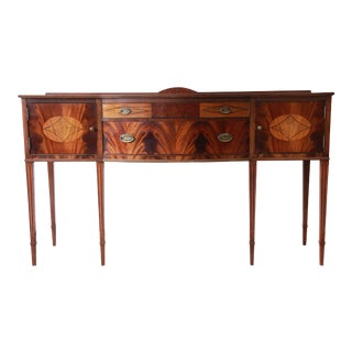 Limbert Hepplewhite Style Inlaid Flame Mahogany Sideboard Buffet, Circa 1930s