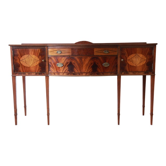 Limbert Hepplewhite Style Inlaid Flame Mahogany Sideboard Buffet, Circa 1930s For Sale