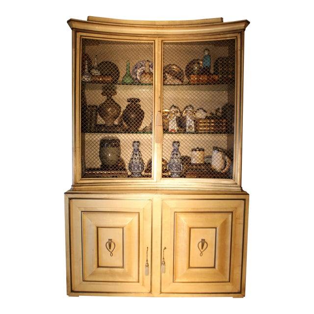 1940s Vintage Grosfeld House Lacquered Parchment China Cabinet For Sale