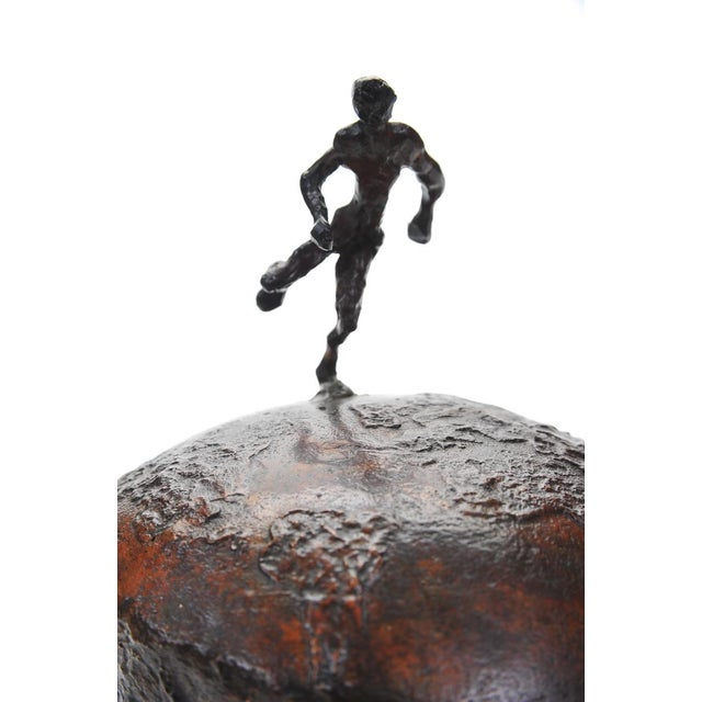 Athlete Running Across the World Bronze Sculpture For Sale - Image 9 of 9
