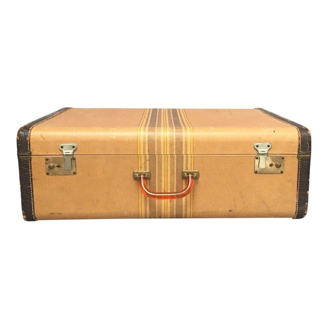 Large Vintage Herringbone Stripe Suitcase With Bakelite Handle For Sale