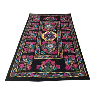 Vintage Colorful Velvet Suzani Bedspread With Carving Flower Patterns For Sale