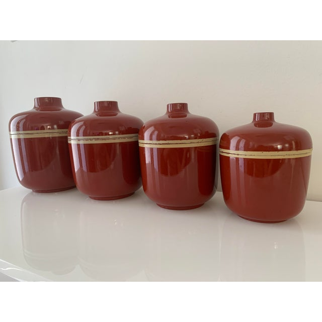 1980s Vintage Brick Red Lacquer Ware Nesting Jars - Set of 4 For Sale In Miami - Image 6 of 13
