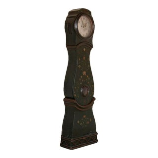 Antique Original Green Painted Swedish Mora Clock For Sale