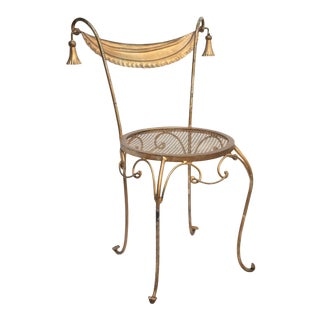 Wrought Iron Gold Parlor Chair For Sale