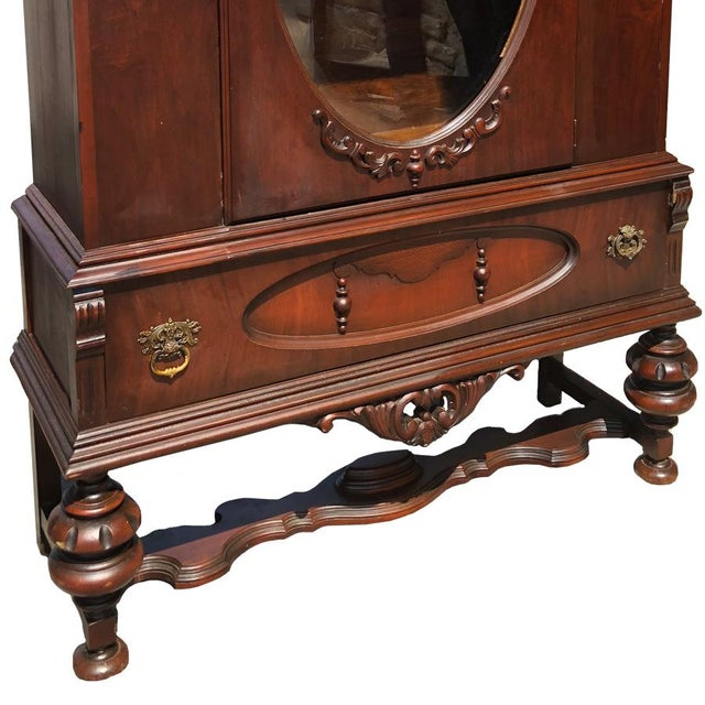 Exceptional Antique Victorian Carved Mahogany China Curio Bookcase Cabinet For Sale - Image 4 of 11