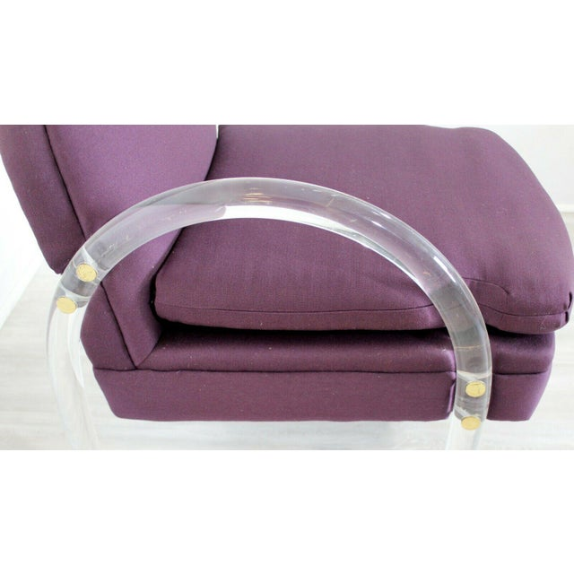 Textile Mid Century Modern Pair Pace Lucite Armchairs Charles Hollis Jones Style 1970s For Sale - Image 7 of 8