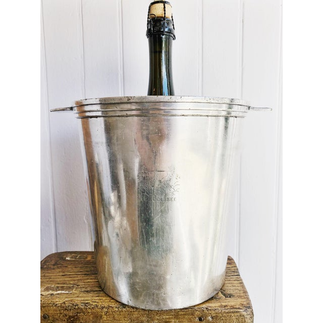 A beautiful antique circa early 1900s silverplated champagne bucket/cooler made in France by Christofle for the hotel ale...