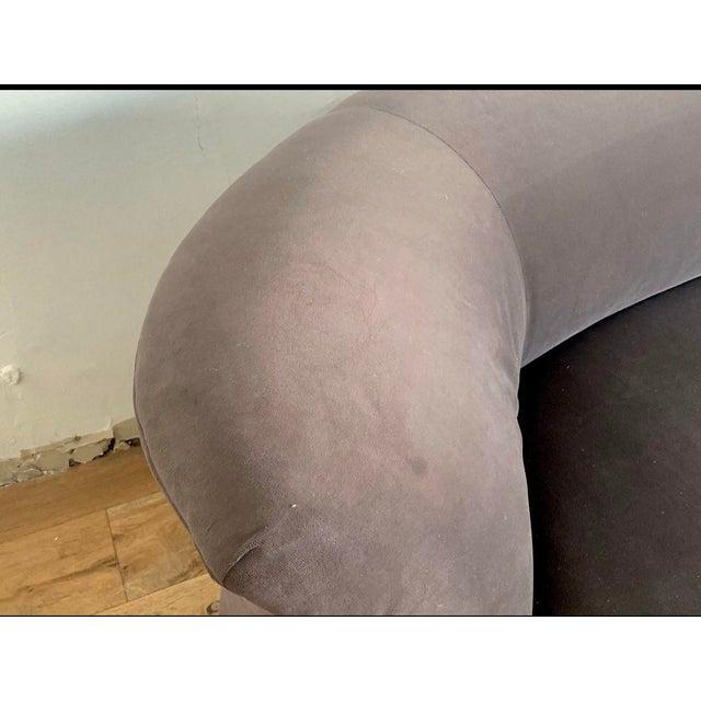 Gray Velvet Postmodern Sectional Vladimir Kagan Style For Sale - Image 4 of 5