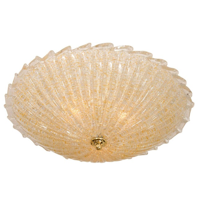 Fluted Gold Flecked Murano Glass Flush Mount Fixture For Sale