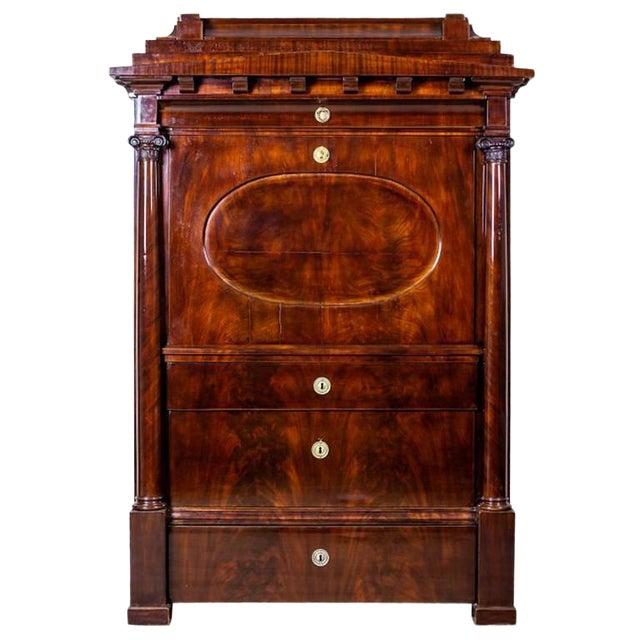Biedermeier Secretary Desk Veneered with Mahogany, circa 1840 For Sale