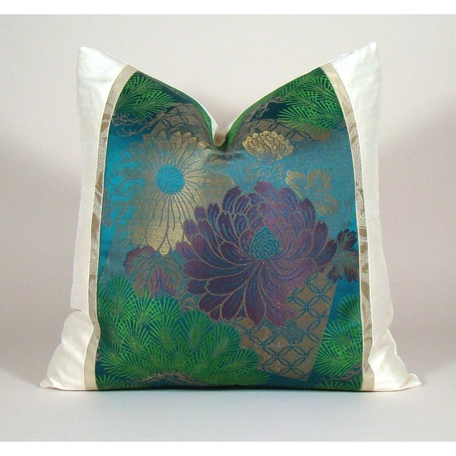 Antique Japanese Silk Obi Lotus Flower Pillow Cover For Sale - Image 10 of 10