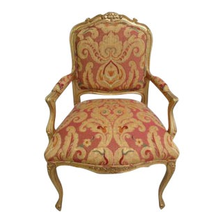 Vintage Italian Regency Tapestry Upholstered Lounge Arm Chair For Sale