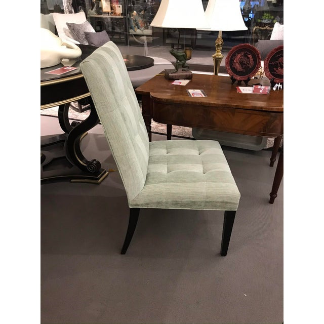 Robert Allen side chair from their Michigan showroom! Never used. Upholstered in green strip semi velvet fabric with...