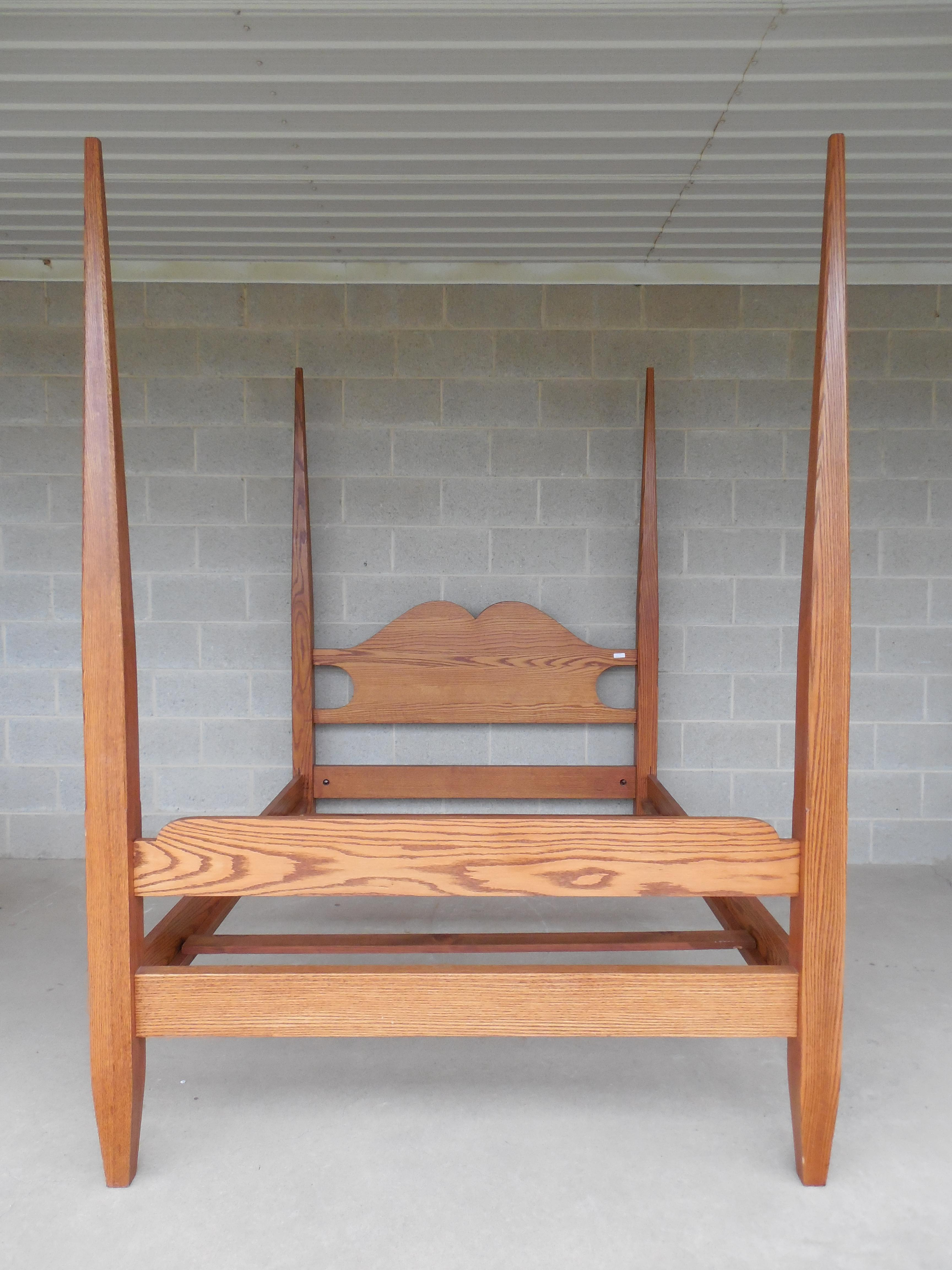 Tom Seely Solid Oak Shaker Style Full Size Tester Canopy Poster Bed - Image 6 of  sc 1 st  Chairish & Tom Seely Solid Oak Shaker Style Full Size Tester Canopy Poster ...