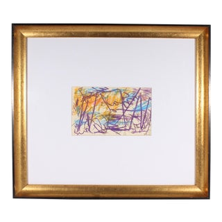 Paul Chidlaw Signed Mixed Media Abstract Drawing For Sale